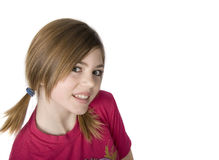 Young girl with pigtails. 14 year old model with pigtails Royalty Free Stock Photos