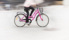 Young girl on pink bike Royalty Free Stock Image