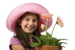 Young girl pink daisies Royalty Free Stock Photos