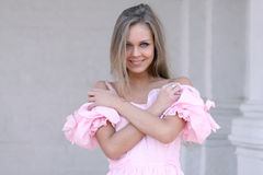 young girl in pink dress Royalty Free Stock Image