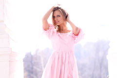Young girl in pink dress Royalty Free Stock Photography