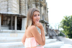 young girl in pink dress Royalty Free Stock Photo