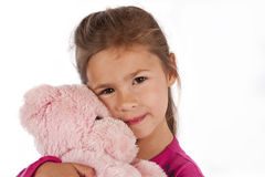 Young girl with pink dress in studio Royalty Free Stock Photography