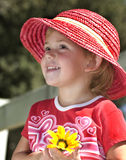 Young girl in pink hat Stock Photography