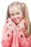Young girl in pink raincoat Royalty Free Stock Images