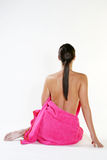 Young girl with pink towel Royalty Free Stock Photo