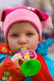 Young girl piping Royalty Free Stock Photography