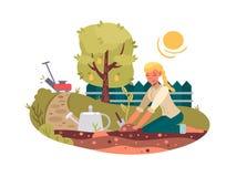 Young girl planting seedling. In green garden. Vector flat illustration royalty free illustration