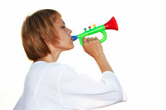 Young girl play horn Stock Image
