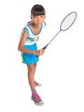 Young Girl Playing Badminton IV Royalty Free Stock Photos