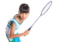 Young Girl Playing Badminton VII Stock Images