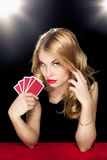 Young girl playing in the gambling Stock Photography