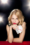 Young girl playing in the gambling Royalty Free Stock Photography