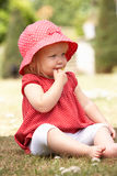 Young Girl Playing In Garden At Home Stock Images