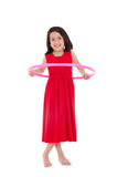 Young girl playing with hula hoop isolated over Royalty Free Stock Images