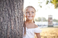 Young girl playing at a park Royalty Free Stock Photo