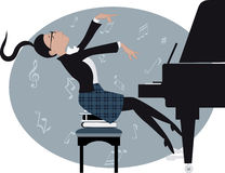 Young girl playing a piano. Funny teenage girl expressively playing a piano, vector cartoon, no transparencies Royalty Free Stock Image