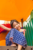 Young Girl Playing on Playground / Happy Young Girl Playing on P Stock Photos