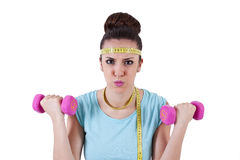 Young girl playing sports, fitness Royalty Free Stock Photos