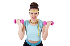 Young girl playing sports, fitness Royalty Free Stock Photography