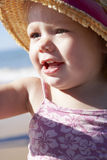 Young Girl Playing On Sunny Beach Stock Photo