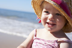 Young Girl Playing On Sunny Beach Royalty Free Stock Photography
