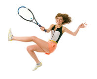 Young girl playing tennis. Isolated on white Royalty Free Stock Photo