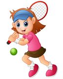 Young girl playing tennis on a white background Royalty Free Stock Photography