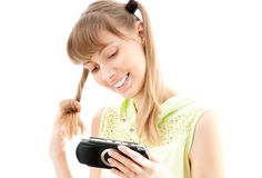 Young girl playing video game Royalty Free Stock Photo
