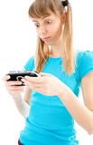Young girl playing video game Royalty Free Stock Image
