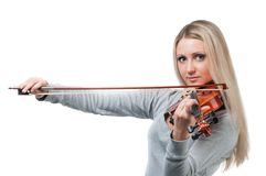 Young girl playing the violin Royalty Free Stock Photography