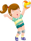 Young Girl playing volleyball vector Stock Images