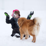 Young girl plays with a dog in the snow Royalty Free Stock Photos