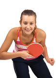 Young girl plays  ping-pong Royalty Free Stock Images