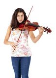 Young girl plays the violin Stock Photography
