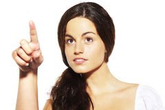Young girl pointing finger Royalty Free Stock Image