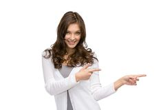 Young girl pointing hand gesture Royalty Free Stock Image