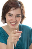 Young girl pointing on you Stock Image