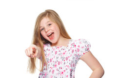 Young girl pointing at you Stock Photo