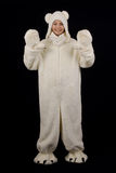 Young girl in the polar bear costume Royalty Free Stock Photo