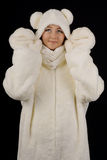 Young girl in the polar bear costume Royalty Free Stock Image