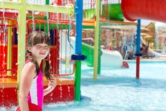 Young girl in the pool. A young girl in the pool at a water park Stock Photo