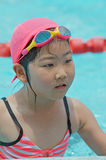 Young girl at the pool. Portrait of cute young Asian girl wearing swimming cap and goggles and standing in an outdoor pool Stock Image