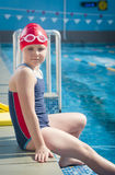 Young girl in the pool Royalty Free Stock Photo