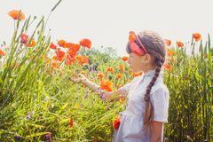 Young girl in poppy field Stock Photography
