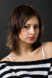 Young girl portrait. Glamour young girl over black Royalty Free Stock Photos