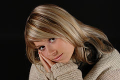 Young girl portrait. Nostalgic stylization of young girl portrait Royalty Free Stock Photo
