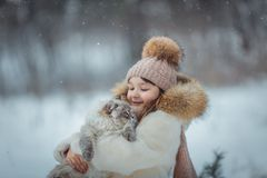 Young girl portrait with cat Royalty Free Stock Image