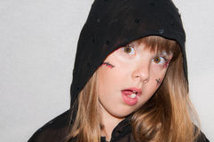 Young girl portrait Haloween shock Royalty Free Stock Image