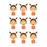 Young Girl Portrait Icons With Different Emotions Royalty Free Stock Photography